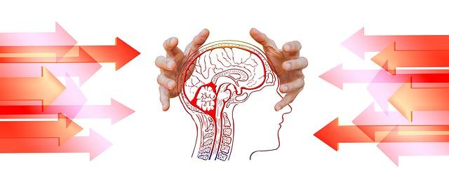 脳のイラストとそれを抱えようとする手