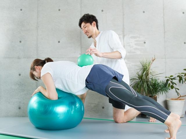 ボールの上で腕立て伏せの姿勢を取る女性と男性