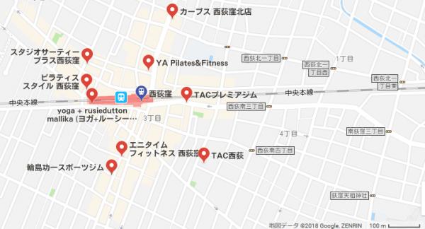 西荻窪近辺のジム9件を記した地図