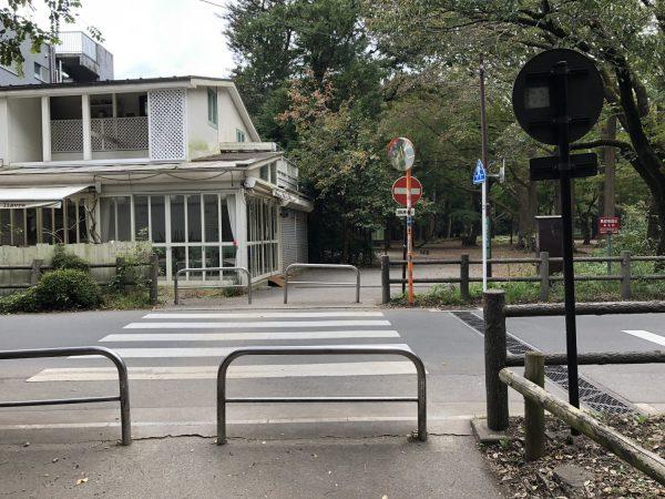 横断歩道を渡ると左側に白い建物が見える
