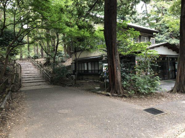 右側に茶屋が見える階段