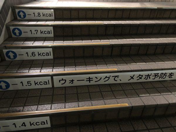 1段1段にカロリー表示がされている階段