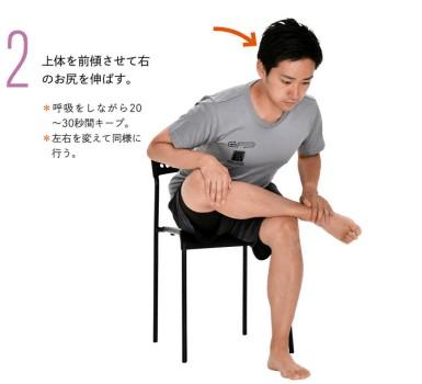 椅子に座り右足を左腿の上にのせ体を前に倒す男性