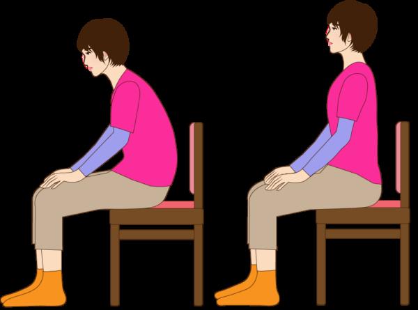 女性が椅子に座るイラスト2種類