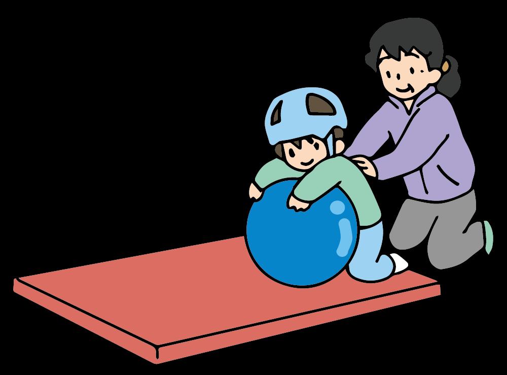 帽子をかぶった男の子と女性とボール